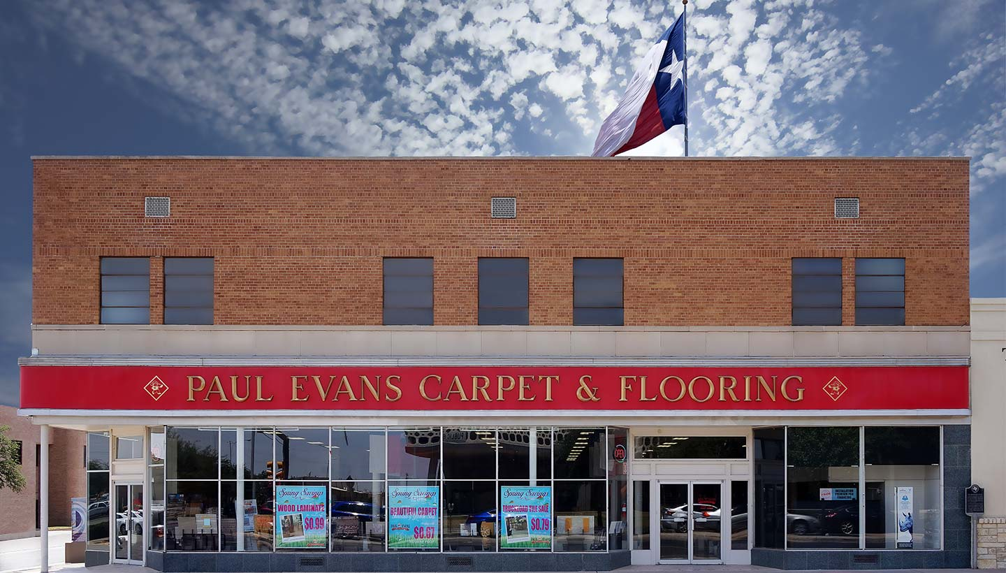 Paul Evans Odessa flooring storefront - located in downtown Odessa just across from the Ector County Courthouse
